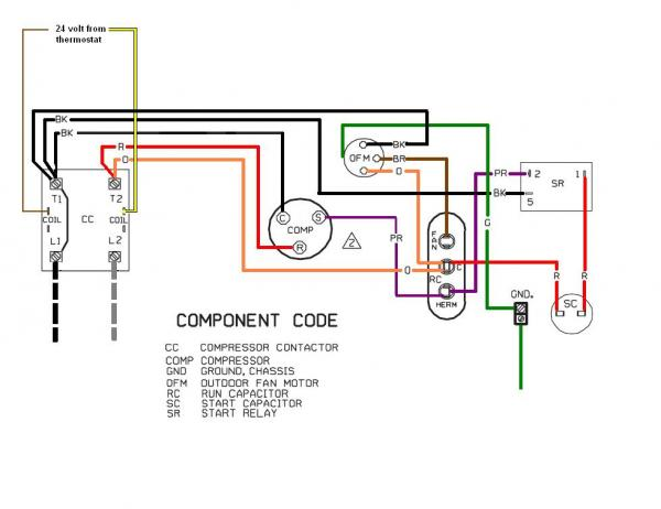 replacing a ge 3-wire condenser fan with a 4-wire ... goodman ac compressor wiring diagram goodman compressor wiring diagram