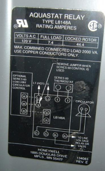 honeywell l8148e wiring diagram    wiring       honeywell    6006 aquastat to a l8148 doityourself     wiring       honeywell    6006 aquastat to a l8148 doityourself