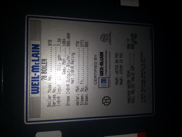 Weil-McLain 78 Boiler Maximum firing rate & residential home heating ...