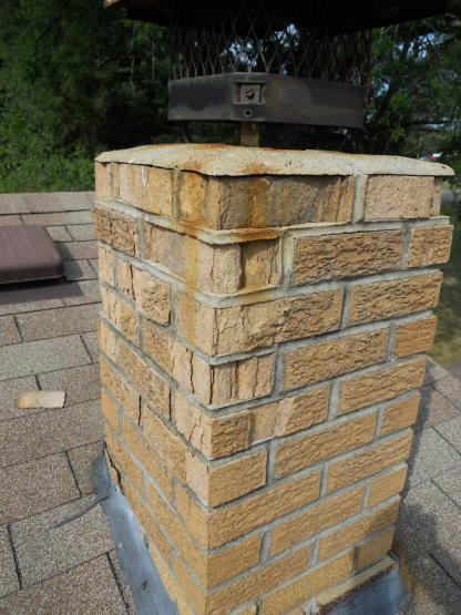 Stucco Over Cinder Block Chimney : Broken bricks in chimney patch able doityourself