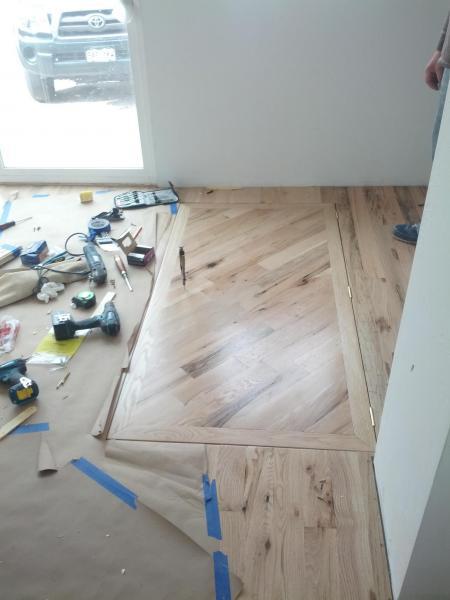 help floor door into basement with gas springs