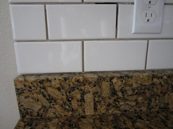 Tiile backsplash and granite joint for Replacing backsplash