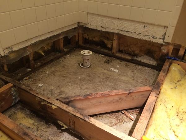 "Corner Fiberglass Shower Pan- Can I ""Build it up"" to make ..."