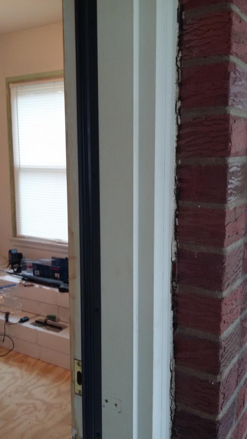 Door jamb issues with exterior door and floor brick - How to make a door jamb for an exterior door ...