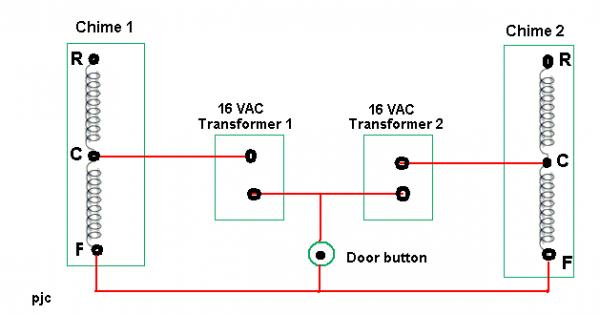 2 doorbells 1 transformer pleeeeeeeeeeeeeeezzzze HELP ... on doorbell wire, doorbell schematic diagram, doorbell installation, circuit diagram, doorbell switch, doorbell transformer diagram, doorbell connections diagram, doorbell cover, doorbell repair, doorbell battery, doorbell parts, doorbell relay,
