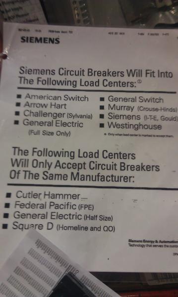 Breaker Chart  Siemans