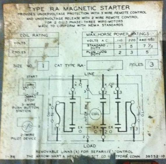21882d1385378821 help wiring old arrow hart magnetic starter quincy compressor img_0409 help with wiring an old arrow hart magnetic starter on quincy air compressor starter wiring diagram at bakdesigns.co