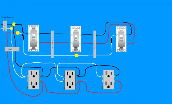 5803d1353549475 need diagram help easiest way wire split receptacles 4 way switch downstairs 3 need diagram help on easiest way to wire split receptacles on 4 wiring diagram for two switches and one outlet at bakdesigns.co