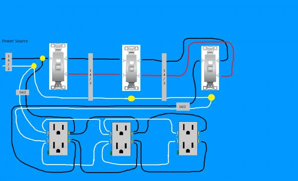 Need diagram help on easiest way to wire split receptacles on 4 way need diagram help on easiest way to wire split receptacles on 4 way switch doityourself community forums cheapraybanclubmaster Images