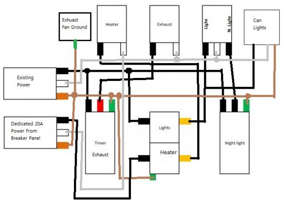 Bathroom Heater Fan Light Combo Triple Switch Wiring Diagram | Bathroom Combo Exhaust And Heater Unit Wiring Diagram |  | louisnagel