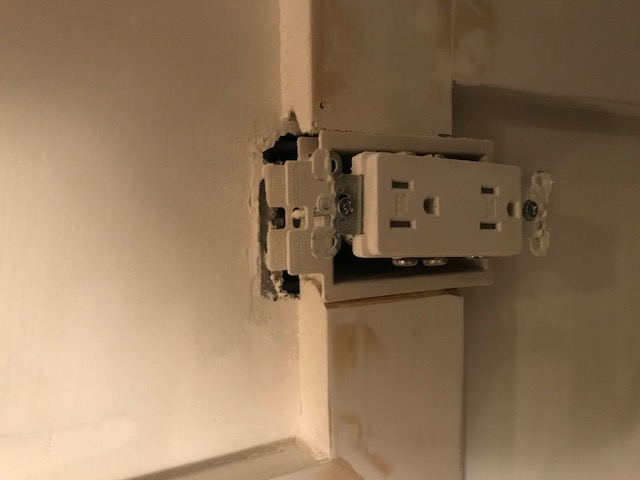 Wainscoting board and batten design with electrical outlets ... on tile around outlets, baseboard around outlets, insulation around outlets, drywall around outlets, trim around outlets, stone around outlets, molding around outlets,