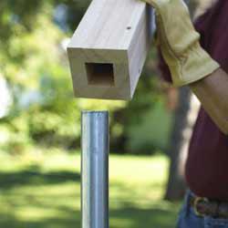 Wood Sleeves Over Metal Posts Doityourself Com Community