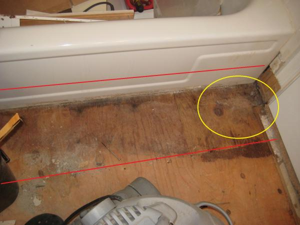 Rotten Subfloor Under Bathtub And Plumbing Wall