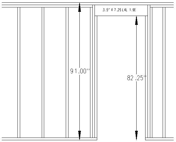 91 high bearing wall door framing