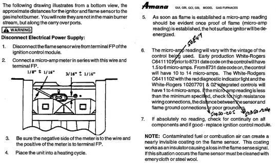 Flame Sensor On Amana Gsi090d50a Doityourself Com