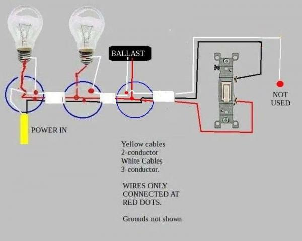 troubleshooting problem wiring power two fluorescent. Black Bedroom Furniture Sets. Home Design Ideas