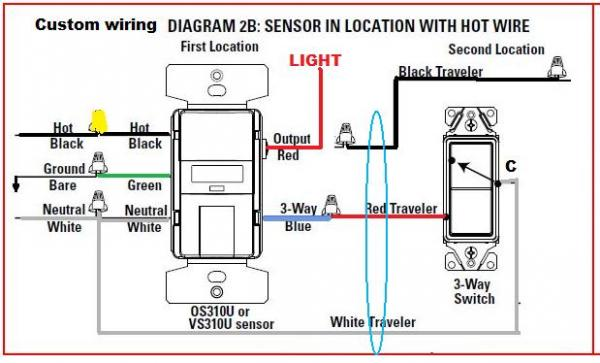 558766 Replacing 3way Switch Motion Sensor on three view diagram auto