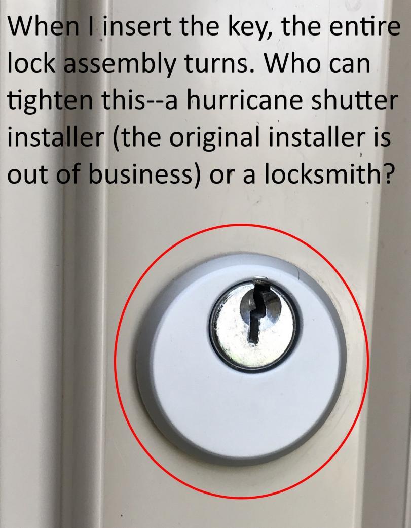 Loose Hurricane Shutter Lock Assembly Doityourself Com