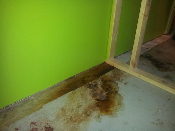 water seeping in through one room in basement no plumbing