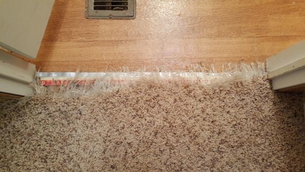 Repairing Shredded Carpet To Tile Transition