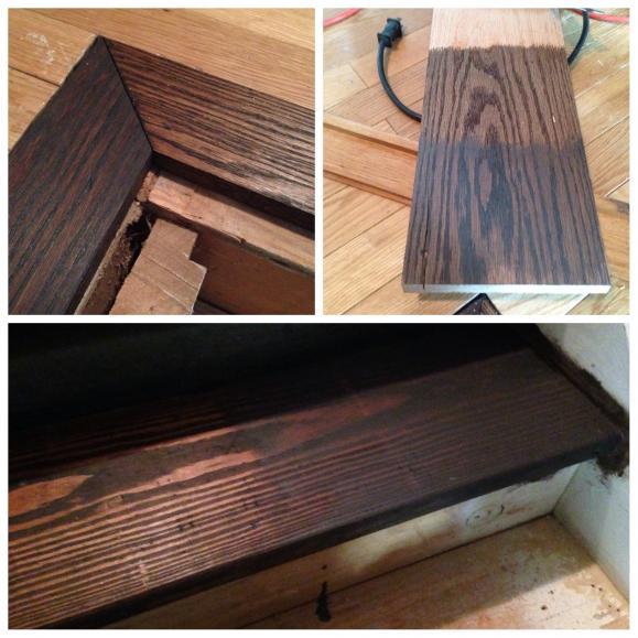 problem staining oak floor can 39 t get it dark enough. Black Bedroom Furniture Sets. Home Design Ideas