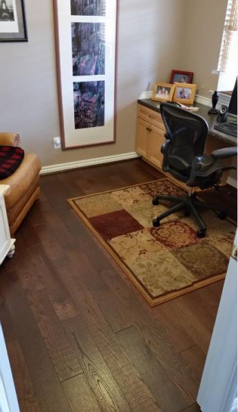 New Wood Floor Layout Between Adjoining Rooms With Doors