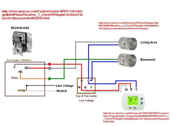 wire thermostat to control zone damper doityourself com community rh doityourself com honeywell damper wiring diagram camper wiring diagram