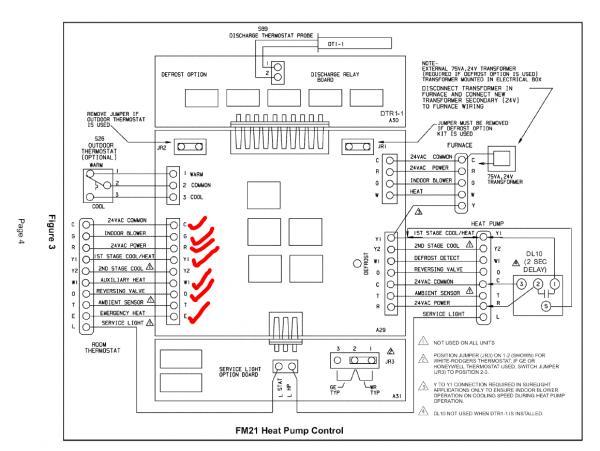lennox 7 wire to honeywell rth6580wf