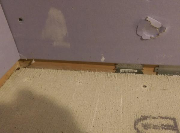 Gap Between Purple Board Wall And Cement Board Durock