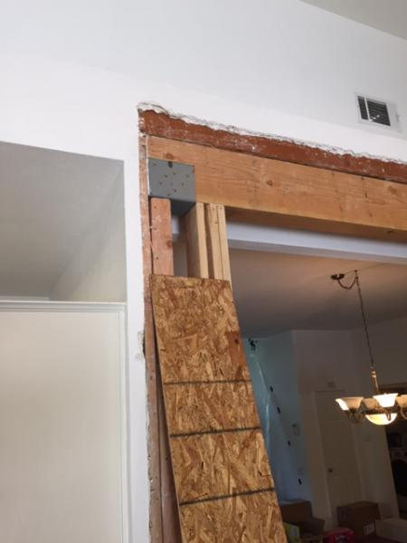 Load Bearing Wall Removed Securing New Post To